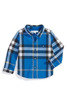Burberry Check Print Cotton Woven Shirt (Baby Boys) available at #Nordstrom
