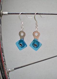 Bicycle Chain Link and Aqua Blue Bead Earrings