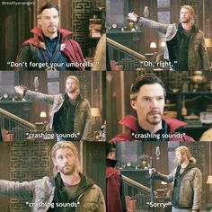 Strange looks so done with not only Thor, but every Asgardian