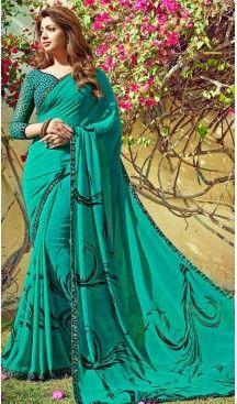 Emerald Color Georgette Fancy Printed Casual Wear Saris | FH543381566