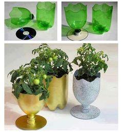 6 DIY vases reusing everyday items. #1 plastic bottles