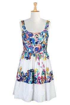 Floral border print crepe dress
