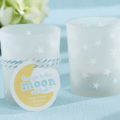 This Frosted Stars Votive Candle Holder makes a cute baby shower party favor! This glass candle holder is printed with white stars and holds standard size votive or tea light candles. Cheap Baby Shower Favors, Baby Shower Favours For Guests, Baby Shower Candle Favors, Wedding Shower Favors, Space Baby Shower, Simple Baby Shower, Baby Shower Parties, Baby Shower Themes, Baby Shower Decorations