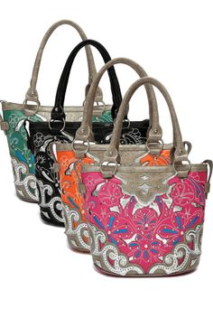 Western Cowgirl Flower Embroidery Deco Top Handle Tote Bag