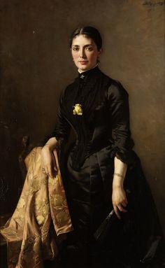 Portrait of a lady, three-quarter length, standing beside a chair, holding a fan (1889). Carl Rudolph Sohn (German 1845-1908). Oil on canvas. A sentimental undertone is felt as Sohn translates his...