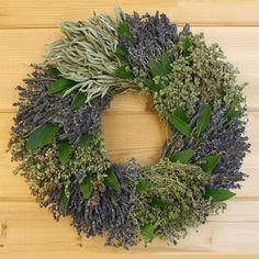 French Herb Wreath - Inspired by France's landscape and French cuisine our French Herb Wreath is made with fragrant lavender, marjoram, sage, santa cruz oregano, thyme, and bay. Herbs are hand harvested on our family farm in California and hand assembled into sections for a unique and striking wreath. Its' wonderful fragrance makes this wreath a great way to welcome guests into your home and makes a great gift.