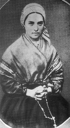 St. Bernadette of Lourdes, circa 1860 - from unusually fine and rare 1904 account of her life … http://corjesusacratissimum.org/2012/07/the-story-of-saint-bernadette-and-lourdes-part-she-said-in-a-voice-that-trembled-a-little-i-am-the-immaculate-conception/