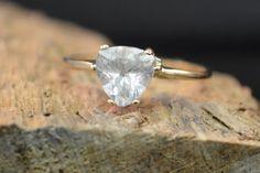 Gold White Topaz Engagement Ring Gold Topaz by LaneGemsandLapidary