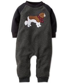 Carter's Baby Boys' Microfleece Dog Applique Raglan-Sleeve Coverall