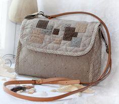 Купить Сумочка Японский стиль - бежевый, сумка женская, сумка ручной работы, сумка с аппликацией