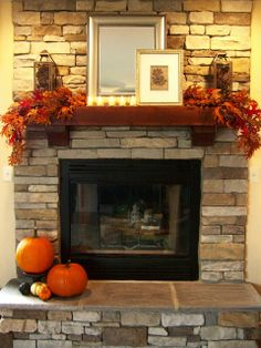 This with chunky black slate stone instead.. Love the mantel and the large flat tiles to sit on