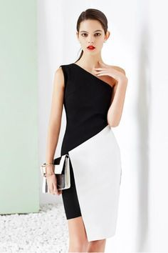 One Shoulder Bodycon Pencil Dress