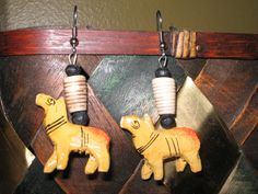 Wooden yellow camel beaded earring set by Moonshinez on Etsy, $10.00
