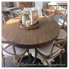 Round Kitchen Table Makeover with restoration hardware style finish to match RH burnt oak madeleine chairs