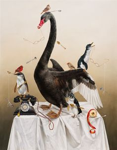 Kate Bergin:Black Swan of Trespass and some Angry Penguins, 2011 Archival… Fantasy Paintings, Animal Paintings, Fantasy Art, Surreal Artwork, Bird Artwork, The Fox And The Hound, Pop Surrealism, Visionary Art, Australian Artists