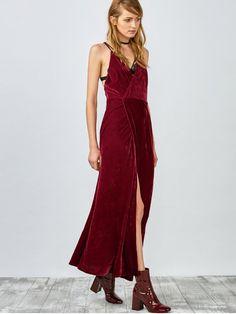 High Slit Velvet Backless Prom Slip Dress - RED XL Mobile