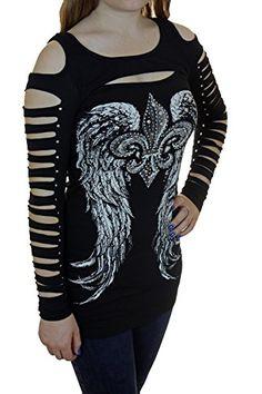 474ae344eb5 Bling Womens Plus Size Rhinestone Cross or Fleur De Lis Wings Or Hoodie New  Top Black Laser Cut Peekaboo)