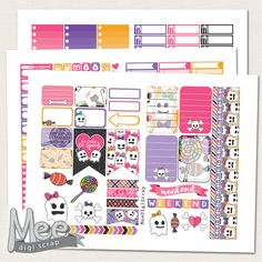 Halloween stickers,The Happy planner size printable stickers,Pink and cute Halloween sticker kit printable planner stickers,weekly kit by MeeDigiScrap on Etsy