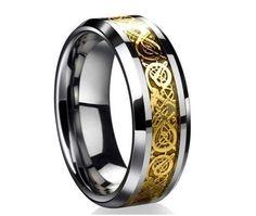 joias de ouro masculina - 2014 nova moda masculina 18 K banhado a ouro homens dragão tungstênio anel anéis Wedding Band ...Pesquisa Google
