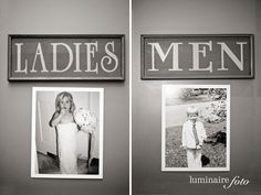 put old pics of {bride and groom} on the bathroom door at the wedding  Funny idea