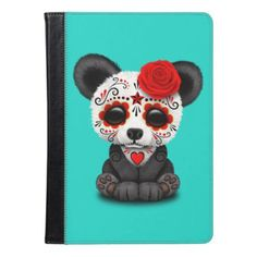 #Red Day of the Dead Panda Cub iPad Air Case - #halloween #party #stuff #allhalloween All Hallows' Eve All Saints' Eve #Kids & #Adaults