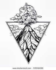 Hand drawn volcano in triangle frame. Nature disaster eruption and smoke in sky with clouds. Isolated vector illustration. Tattoo, travel, adventure, retro symbol. Metaphor of passion or emotions.