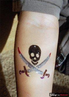Skull & Crossbones glitter tattoo  Sweetladera.com Glitter Tattoos, Skull And Crossbones, Cosmetology, Body Art Tattoos, Body Painting, Henna, Swarovski Crystals, Paint Ideas, Tattos