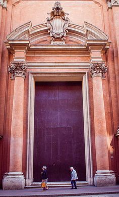 Gigantic, purple door in Bologna, Italy