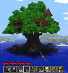 The player who built this tree house may have wanted an actual tree in real life but he made it possible in the game of Minecraft.