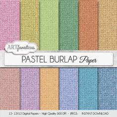 Burlap digital paper PASTEL BURLAP rustic burlap by Artfanaticus