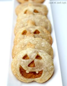 Pumpkin Pie Pockets Sprinkled with Cinnamon Sugar.  perfect for halloween parties.