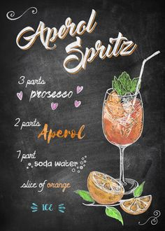 "Chalkboard Bar Cocktails Aperol Spritz Displate artwork by the artist ""Joan Derpp"" .Chalkboard Bar Cocktails Aperol Spritz Displate artwork by the artist ""Joan Derpp"". Cocktail Aperol Spritz, Prosecco Cocktails, Cocktail Drinks, Alcoholic Drinks, Aperol Soda, Orange Cocktail, Aperol Drinks, Beverages, Cocktail Recipes Aperol"