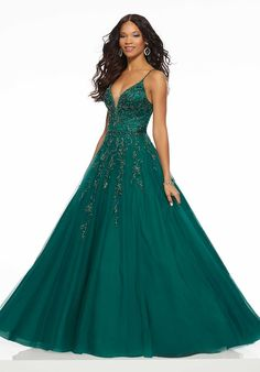 Morilee Beautifully Beaded Tulle Prom Gown Featuring a Deep-V Neckline and Open Back. We carry formal gowns for every occasion including prom. Evening Gowns Online, Backless Evening Gowns, Evening Dresses, Formal Dresses, Formal Wear, Straps Prom Dresses, Pagent Dresses, Homecoming Dresses, Designer Prom Dresses