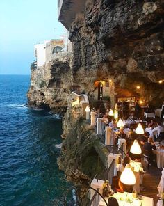 Hotel Ristorante Grotta Palazzese (Polignano a Mare, Italie - Pouilles) Italy Vacation, Vacation Destinations, Dream Vacations, Vacation Spots, Italy Travel, Vacation Places, Tourist Spots, Vacation Packages, Places To Travel