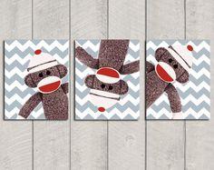 for a boy - Nursery Art Print Set - Sock Monkey - 8x10. $32.00, via Etsy.