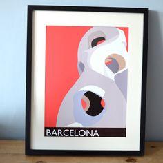Barcelona Gaudi ciudad impresión en red arte de por NettyandDi
