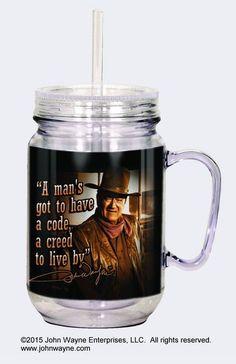"John Wayne ""A Man..."" Mason Jar w/Straw"