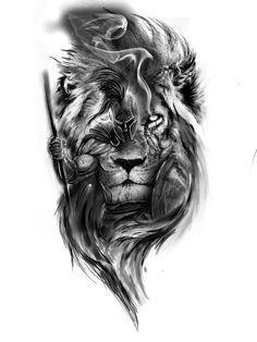 Half Sleeve Tattoos Sketches, Realistic Tattoo Sleeve, Best Sleeve Tattoos, Tattoo Sketches, Warrior Tattoo Sleeve, Lion Tattoo Sleeves, Warrior Tattoos, Lion Head Tattoos, Cool Arm Tattoos