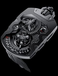 Urwerk   |   UR-1001 Zeit Device   |   Houses a constellation of indications, including orbiting satellites and a comet-like flying retrograde. Dials, springs, satellites, carrousels, retrograde spiral spring were all manufactured in-house by URWERK, as were most of the components in the Zeit Device's complications and indications.