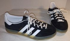 NEW MEN'S ADIDAS BLACK GAZELLE INDOOR SHOES SNEAKERS WHITE SIZE US 7.5 #adidas #RunningCrossTraining
