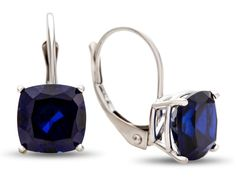 7x7mm Cushion Created Sapphire Lever-back Earrings