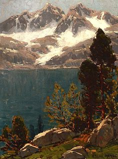 Edgar Alwin Payne (1883 - 1947). Azure Lake. Oil on Canvas. 16 x 12 in.