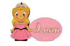 Plaquita Princesa personalizada sobre madera y pintada a mano