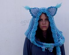 a8e3726f36d9 Cat ears Hoodie Scarf Cheshire Cat Costume Scarf with Hood Knit Knitted  Scoodie Hoodie Hat Festival Clothing Halloween Costume Crochet Hood