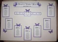 Personalised A3 A2 Wedding Seating Plan Table Plan Butterflies Many Colours