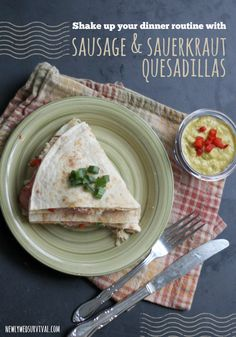A delicious twist on an ordinary quesadilla! These sausage & sauerkraut quesadillas are so good - my whole family loved them. #DeliciousDinners ad