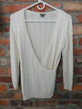 $34.95 OBO Women's Ann Taylor Cream Cable Knit Wrap Silk Blend Sweater Size: XS Free Shipping