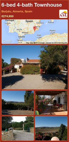 Townhouse for Sale in Villaricos, Burjulu, Almeria, Spain with 6 bedrooms, 4 bathrooms - A Spanish Life Valencia, Log Burning Fires, Portugal, Large Bathrooms, Maine House, Doorway, Townhouse, Terrace, Spanish