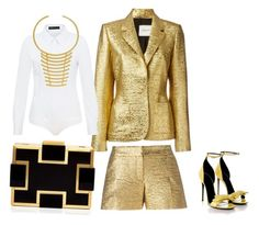 """I've struck GOLD!"" by dawn-wickham on Polyvore featuring Lanvin, Hallhuber, Gucci, BaubleBar, Sondra Roberts, women's clothing, women's fashion, women, female and woman"