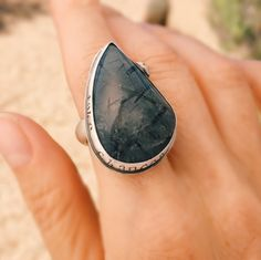 Handcrafted sterling silver ring with Tourmaline in Quartz gemstone by Sisters of the Sun. $174 http://etsy.me/1OFkBBf